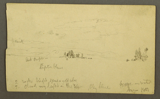 Drawing, Wooded island on a lake, 1881