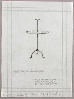 Vertical rectangle, ruled borders in graphite, irregular right edge. At center, elevation for a metal circular table with rod through center, extending down and branching out into three short curving legs. Above the table top, the metal rod continues, branching out into two curving forms. Graphite inscriptions below.