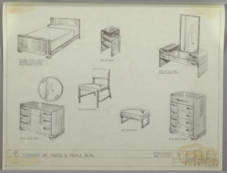 Drawing, Bedroom, Estey Suite, ca. 1935