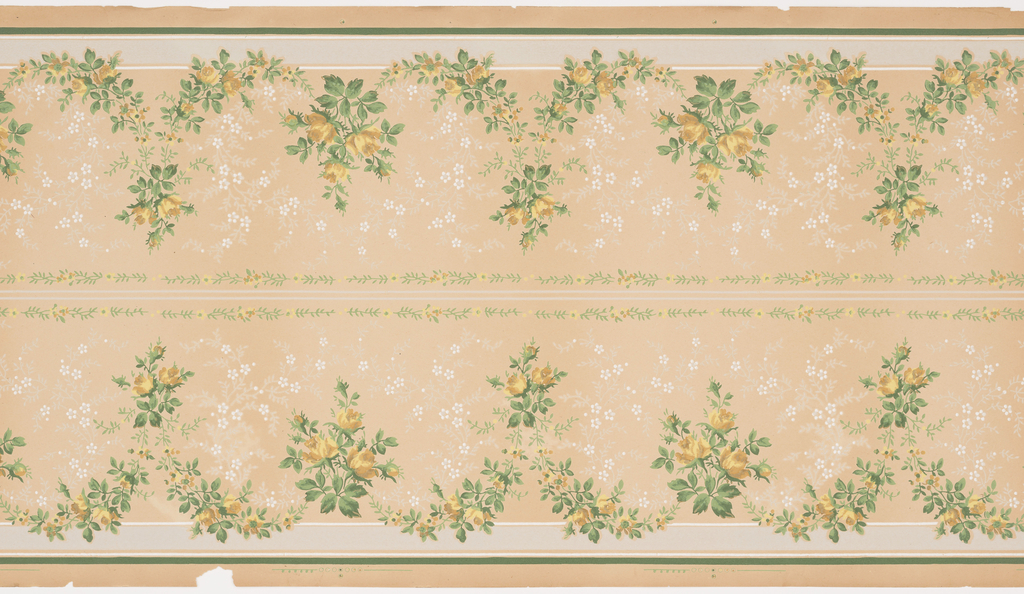 Repeating floral design of yellow rose swags with each peak defined by a simple three-flower grouping. Two horizontal lines and two vine-and-flower stripes separate the two borders. Printed on a solid background with a simple overall flower and leaf pattern bordered by horizontal strips. Printed in gray, white, green, yellow, tan and burnt orange. Two borders printed across the width.