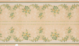 Two bands of mirror-reversed repeating floral inverted v-shape pattern with each peak defined by a simple three-flower grouping separated by two horizontal and two vine-and-flower strips on a solid background with a simple overall flower and leaf pattern bordered by horizontal strips. Printed in gray, white, green, yellow, tan and burnt orange.