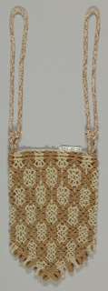 Bag with one side of macramé, and the other of plain weave. Two loops for carrying.