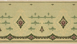 Diamond-shaped motifs alternating with other motifs. Band of diamond motifs run across the top edge. Printed in green, burgundy and gold on tan background.