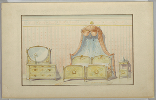 Drawing, Suite of Bedroom Furniture: Mirrored Dresser, Twin Beds, and Night Stand, 19th–20th century