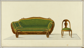 Drawing, Sofa and Chair in green fabric, 1850–1900