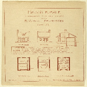 Shows three plans of a house.