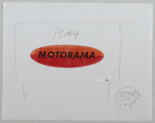 "Red oval in center of sheet with MOTORAMA in center; each letter numbered 1-8 in black. Oval outlined iin graphite. The word ""Play"" sketched above oval. Lower right, graphite rectangle w/ DRAGONOIL. The word ""Dragon"" in white. Lower right corner of sheet, a dragon's head in profile."