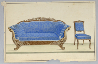 Drawing, Sofa and Chair in blue fabric, 1850–1900