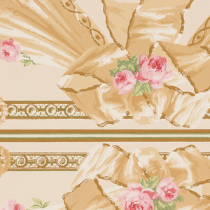 Drapery swags suspended from architectural molding with ribbon bow knots, roses lie on the top edges of the drapery. Above the center of each drapery swag is a rope or cable tied in a bow knot, which swags alternately to the drapery. Printed in tan, beige, pink, white and green on light ground. Two borders printed across the width.