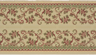 Vine of scrolls across frieze with curls bearing blossoms. Printed in bight burgundy and dark turquoise on light greenish-white ground. Two borders printed across the width.