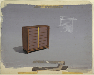 Design for wooden cabinet showing movable parts.