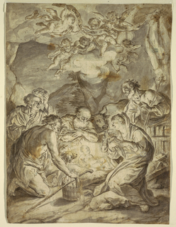 Nativity scene showing the infant Christ child reclining on hay at center, glowing with light, surrounded by Joseph and the Virgin Mary. Three additional figures of shepherds kneel in adoration, each cast in dramatic shadow. Farm animals (cows and dogs) surround the figures. In the sky above, groups of putti holding banners in the clouds. Squared for enlargement in black chalk.