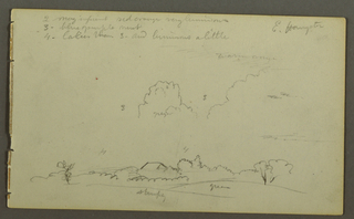 Recto: cloudy study, fields, house. Verso: Sky study over ridge, horse's head.
