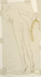 A female figure leaning over a pedestal.