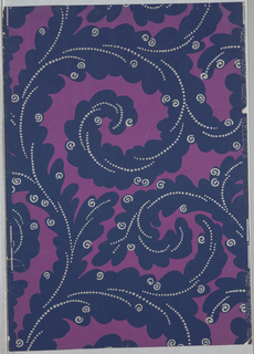 "Printed for Nancy McClelland of New York City. A stylized acanthus leaf scroll design in a large scale. Acanthus leaves printed in deep blue veined with silver dots. Here and there at the outer edges of leaves are small silver scrolls. Printed on selvedge: ""Made in France, Nancy McClelland"". Printed in dark blue and silver on magenta field."
