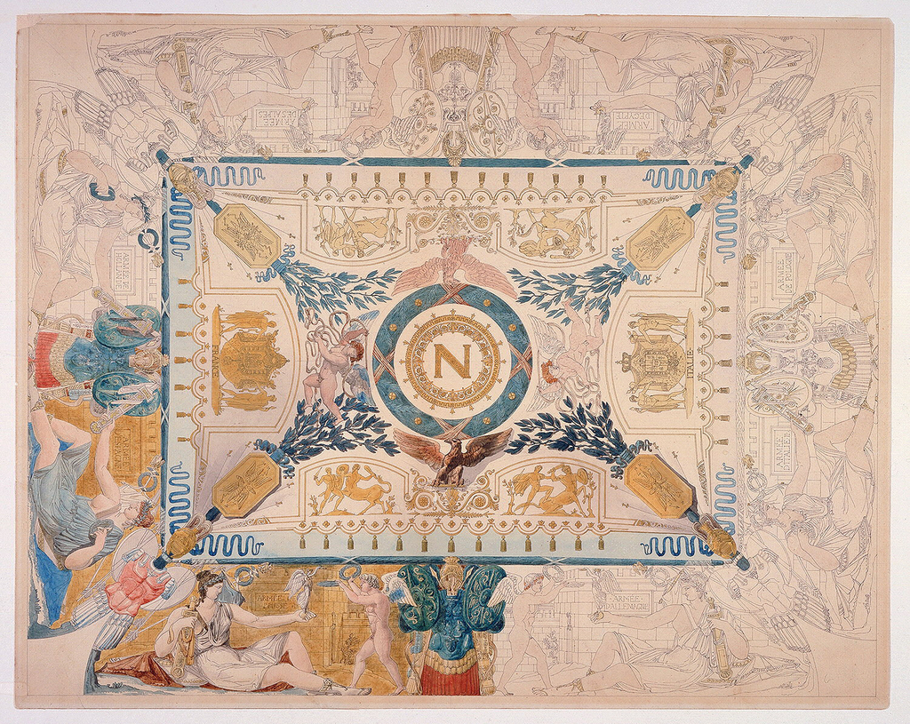 In the middle of the center rectangle is a circular medallion with Napoleonic N; the coats of arms of the emperor and of the King of Italy are shown laterally. Laurels are in  each corner of the interior square; depictions of men battling centaurs between the laurels. Outside edge around center rectangle are identical depictions of Victory presenting a figure to a winged male nude. Each scene is separated by armor. The plaques behind each figure refer to specific victories of the Napoeonic army.  The conquered armies are noted on the plaques. The center rectangle and the scenes on the lower left are completed with color.