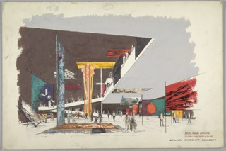 Design for solar energy exhibit. Interior perspective shows open-plan exhibition space with curving ramp, at rear, providing access to mezzanine level. Interior architecture is white, International Style, with white pavement and brown-black walls and ceiling. At center, large installation of teal- and rust-colored panels with information plaques at angle on ground. At center in background, floor-to-ceiling installation of orange and yellow material or light that meets rectangular yellow plan on ceiling (nearby, a similar red and black panel). At left, wall obscured by additional teal-blue panel, and a satellite seems to be suspended from ceiling; in midground, a satellite dish is propped up for display. At right, under the mezzanine, various exhibit display panels—in various hues of red, orange, teal, yellow, and black, some with text and some without—are supported by linear tubing system. Human figures populate the scene throughout. Signed in pen and ink, lower right: DELLER '60.
