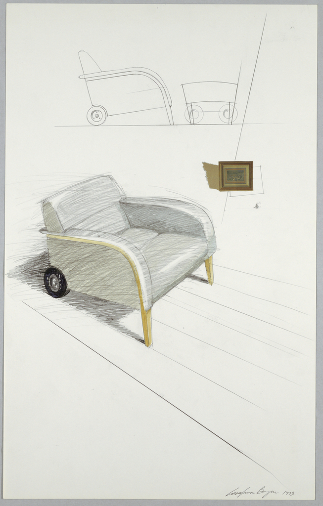 Perspective drawing of a gray upholstered club chair with upholstered wood arms curving down to form the front legs. The back rollers of the chair are of industrial-looking tire.  A Sears Department Store catalogue illustration of a painting is collaged to right of center, suggesting an interior wall of a room where chair is placed.  Above, an outline sketch of side (elevation) view of chair and matching ottoman.