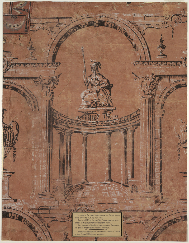 """Pillar and arch design. The framework is composed of a major arch resting upon Corinthian columns.  Looking through the major arch, """"Britannia"""" is seen enthroned atop a curved colonnade of Doric columns.  Britannia is shown facing left, holding a spear, resting on her shield.  The minor arches contain a large-scale urn sitting on a pedestal.   Printed in black and white on a terra cotta ground.  A label giving provenance is pasted near the center bottom edge."""