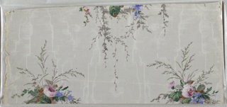 On gray ground imitating moire or watered silk, two columns - one, of small sprays of pink and blue flowers with trailing green vines and, the other, of larger bouquets of blue, pink, and yellow flowers with trailing vines - alternate.  H#262