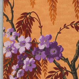 Flowering cherry tree branches with weeping foliage. Printed in purple, dark red, orange, violet, black and gold on an orange mottled ground.