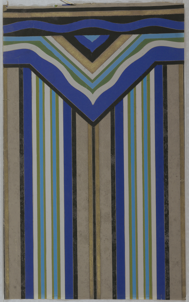 Two central stripes, gold stripe in center with matching border in triangular formation. Printed in gold, black, dark blue, light blue, green, grey on a grey ground.
