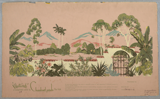 Two color ways of a mural miniature; (a) printed in green, pink and light yellow on a pink ground, (b) printed in mauve and light yellow on an olive green ground. Spanish-style wall, with gate at right in foreground. Trees in middle ground, hills in background.