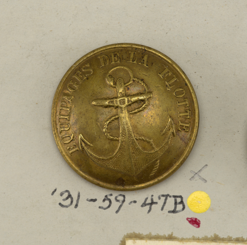 Slightly covex. Buttons decorated with an anchor. Double shank.  Component -a is on card i80 Component -b is on card 57 Component -c is on card C