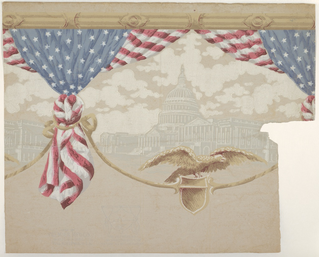 Just over one repeat, showing draped American flag bunting with grisaille view of the Federal Capitol, and rope supporting a shield on which is perched an American eagle. Printed in red, white, blue, browns and grays.