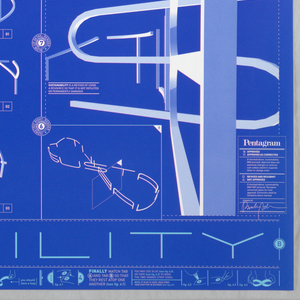 Poster depicting graphics like a blueprint, light blue and white text: sustainability, on deep blue background, presented as the infinity symbol. 'Sustainability' is presented in plan, section and elevation. Instructions for assembly at bottom.