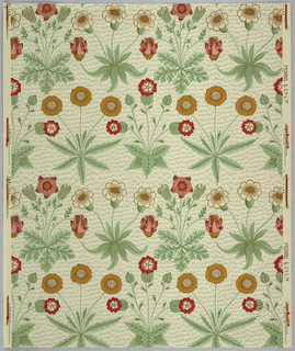 Alternating horizontal rows of clusters of daisies and other flowers. Printed in yellow, red and white, with flecks of green, on cream ground.