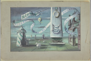 "Design for wall mural for Bigelow-Sanford Carpet Company. At left a round pavilion draped with green and white striped fabric terminates in a finial from which a flag bearing the name ""BIGLOW [sic]"" in green waves. Starting beneath this banner and extending across the scene is a second curling banner bearing the slogan ""BEAUTY YOU CAN SEE, QUALITY YOU CAN TRUST"" in periwinkle, terminating in the arched portal of a stone wall at right. At right of center a white monolithic chimney rises upward. Upon it a banner inscribed ""Inc. 1825"" hangs below a timepiece on a green and white striped fob; its hands indicate just past 5:05 o'clock. Below the chimney lays a hearth with logs and fodder. A yellow hot air balloon floats in the sky while two additional draped pavilions punctuate the mid- and background. A human figure stands gesturing in the midground near a low cloud of wool and two sheep; a third sheep stands facing the viewer in the foreground."