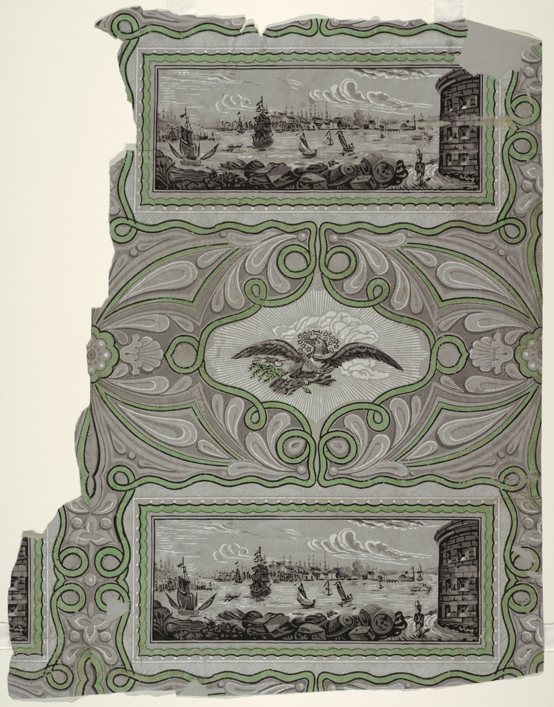 "View of New York City harbor as seen from Castle Williams on Governor's Island,  probably adapted from a print of the scene. Foreground shows sentry walking at base of tower. Sailing ships, sailboats and side-wheeler in Lower Bay and southern tip of Manhattan in distance. This scene enclosed in rectangle, alternating with decorative cartouche shape enclosing motif of eagle in flight carrying ""E PLURIBUS UNUM"" banner. Printed in grisaille, black, white and lime green."