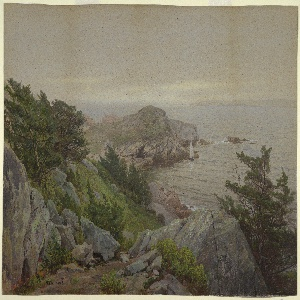At the left, a rugged, rocky hillside, studded with pine trees, slopes down toward an inlet that opens out to the ocean in right distance. A small gaff-rigged boat sails near a rocky outcropping in the center, middle-ground.
