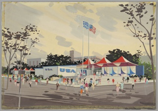 """Design for the United States pavilion, sponsored by the U.S. Department of Commerce, for the 1960 Thessaloniki International Fair. Exterior perspective shows pavilion situated on corner lot; figures populate the surrounding streets, sidewalk, and steps leading up to the structure. At right, series of parabolically-curved panels, alternating blue and indigo, project outward from on an off-white background (possibly stucco) with a solid blue panel at far right. To the left, this wall opens up to provide access to pavilion interior, supported by clusters of rods and capped by white and red tent-like roof. A fountain spouts in front of entryway, and Greek and American flags wave to its left. Further left, rectilinear, single-story structure juts out and is adorned with letters spelling """"USA"""" in blue on front and side. This structure appears to extend leftward from the rear, with additional red and white tented area at far left. In the background, modular/International-Style structures rise from behind trees."""