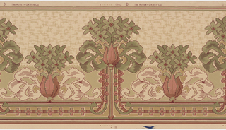 On beige ground, alternating large and small tulips bearing green floral fronds. Border composed of tan, green, and light red with geometric flowers in pink and red.