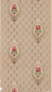 Floral medallion design. Alternating red roses and red tulips on diamond diaper or trellis background pattern. The ground is a petite tan plaid pattern.