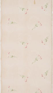 Delicate, thin sprigs of two-tone pink flowers with light and dark green leaves and stems are evenly spaced within the design. In each register, one flower is facing right and the other flower is facing left. This pattern is repeated vertically and makes the flowers look as though they are falling. Around each flower is a white, delicate garland printed in mica. Printed in red, green and mica on an off-white ground.