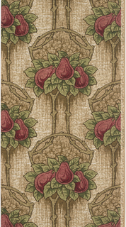 Red pears and green foliage suspended from rustic support. Printed on tan ground with a textured look.