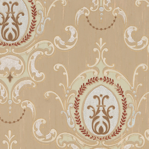 Repeating floral medallion motif. Printed in white mica, burgundy and light green on light brown ground.