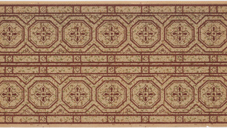 Square motif set inside an octagonal framework creating a chain of such motifs.Printed on dotted or mottled ground. Two borders printed across the width.
