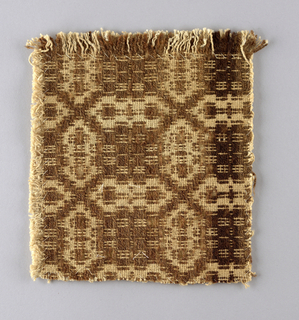 Small section of coverlet showing traditional geometric design in brown wool pattern weft on undyed cotton ground. May be walnut dye. Possibly made in Pennsylvania.