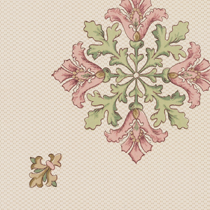 Square motif in center containing four pink flowers and four green leaves. Fleur-de-lis motif adjoining on each of four sides, with acanthus scrolls between motifs. Printed on patterned background.