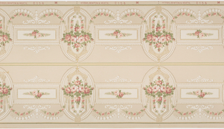 On pink-taupe ground, alternating rectangular and oval frames containing clusters of pink and white roses with foliage. Frames are bordered by beaded border and decorated with scroll motifs.
