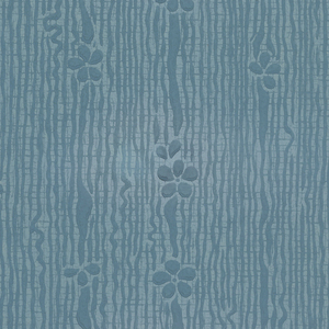 Floral stripe or striae design, composed of small daisy-like flowers on ribbon. Printed in blue on blue ground.
