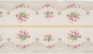Floral bouquets above floral swags; bands of beading. Two borders printed across the width.