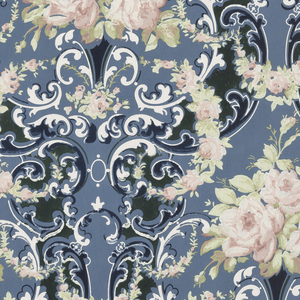 Floral bouquets and swags, connected by acanthus scrolls. Printed in shades of blue, tan, off-white and white on blue ground.