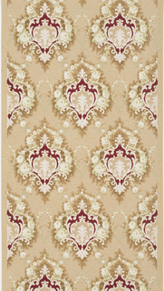 Repeating design of floral medallions, each connected to another by a floral swag. Printed in deep red and white on a tan ground.