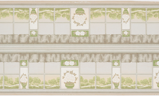 Landscape view of trees and rolling hills seen through window panes, with every third column of panes containing flowers in a vase. A curtain valance hangs above. Printed two borders across the width.