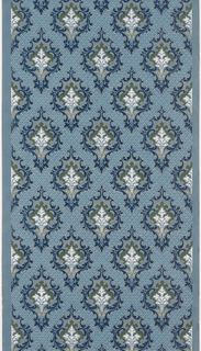 Foliate medallion pattern with stylized bouquet of flowers within each medallion, petite floral motif fill in background. Printed in shades of blue, green, white and metallic gold on blue ground.